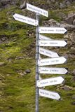 Pole with signs indicating the distances of the capitals of the world. At Nyksund in Norway Royalty Free Stock Images