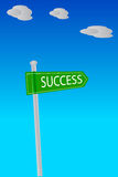 Pole with Success Sign at outdoor Stock Image