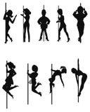 Pole-Tänzer im Schattenbild Stockfotografie