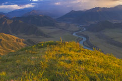 Pole on top of the mountain. Katun River valley, Altai, Russia. Royalty Free Stock Image