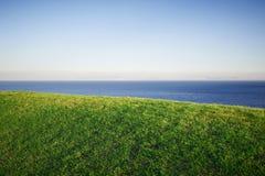 Pole trawa i morze w zmierzchu czasie, Egipt, Dahab Obraz Royalty Free