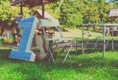 Pole trawa, postaci lying on the beach na trawie urodziny pierwszy rok życie Fotografia Stock