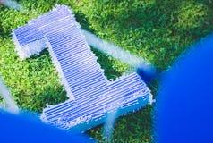 Pole trawa, postaci lying on the beach na trawie urodziny pierwszy rok życie Zdjęcie Stock