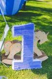 Pole trawa, postaci lying on the beach na trawie urodziny pierwszy rok życie Obraz Royalty Free