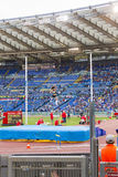 Pole vault athlete. At Diamond League in Rome, Italy in 2016 royalty free stock photo