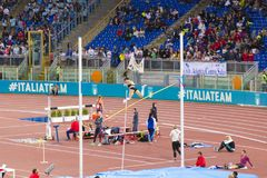 Pole vault athlete. At Diamond League in Rome, Italy in 2016 royalty free stock images