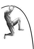 Pole vault chromeman athlete Royalty Free Stock Images