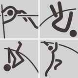 Pole vault icons Royalty Free Stock Images
