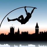 Pole vault over London skyline. Vector illustration of pole vault jumper and London Vector Illustration