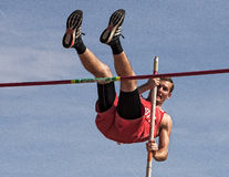 Pole Vault. A pole vaulter makes an attempt Royalty Free Stock Photo