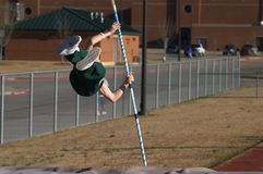Pole Vaulter. Texas Teenager Pole Vaulting Competition, motion blur Royalty Free Stock Images