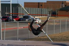 Pole Vaulter. Texas Teenager Pole Vaulting Competition, motion blur Royalty Free Stock Photography