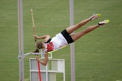 Pole Vaulter. Female Pole Vaulter Stock Photography