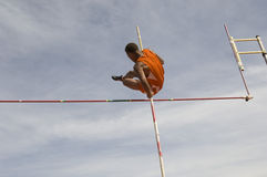 Pole Vaulter Clearing Bar royalty free stock images