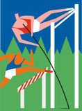 Pole vaulter and hurdler. In action with mountain peaks in the background Stock Photo