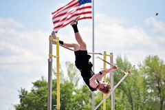 Pole vaulter snaps his pole royalty free stock photos