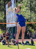 Pole Vaulting Over the Bar Royalty Free Stock Images