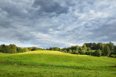 Pole w chmurzącym dniu Obrazy Royalty Free