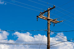 Pole with wires Stock Photo