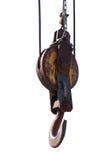 Polea de madera de la vendimia Fotografía de archivo