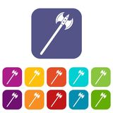 Poleaxe icons set flat Royalty Free Stock Photography