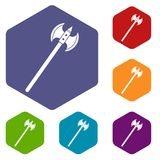 Poleaxe icons set hexagon Royalty Free Stock Photo