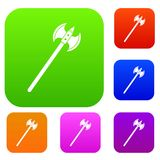 Poleaxe set color collection. Poleaxe set icon color in flat style isolated on white. Collection sings vector illustration Royalty Free Stock Photos