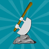 Poleaxe stuck into stone Royalty Free Stock Image