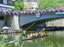 Poled boat race, Tubingen, Germany stock photography