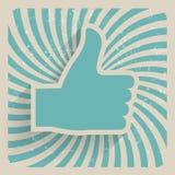 Polegar acima da ilustração retro do vetor do símbolo do Grunge Fotografia de Stock Royalty Free