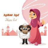 Polegar acima da menina muçulmana com carneiros Fotografia de Stock Royalty Free