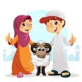 Polegar acima do menino e da menina muçulmanos com carneiros Fotos de Stock