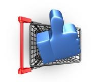 Polegar acima no carrinho de compras, rendição 3D Imagens de Stock