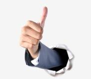 Polegar acima para o sucesso no negócio Fotos de Stock Royalty Free