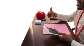 Polegar até o negócio moderno em África imagens de stock