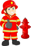 Polegar dos desenhos animados do bombeiro acima ilustração do vetor