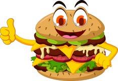 Polegar dos desenhos animados do hamburguer acima ilustração do vetor