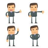 Polegar engraçado da preensão do homem de negócios dos desenhos animados acima e para baixo Imagem de Stock