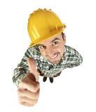 Polegar engraçado do trabalhador manual acima Imagem de Stock Royalty Free