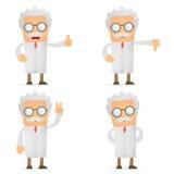 Polegar engraçado da preensão do cientista dos desenhos animados acima e para baixo Fotos de Stock Royalty Free