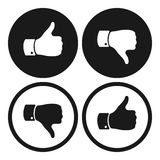 Polegar para cima e para baixo símbolos Ícone humano da mão Sinal de como Imagem de Stock
