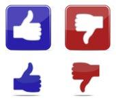 Polegares acima e dos polegares ícones do símbolo para baixo Vetor Fotos de Stock
