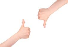 Polegares acima e polegares para baixo Imagens de Stock