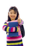 Polegares asiáticos pequenos do estudante acima! foto de stock royalty free