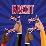 Polegares de Brexit acima com bandeiras BRITÂNICAS ilustração royalty free