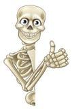 Polegares de esqueleto de Dia das Bruxas dos desenhos animados acima Imagens de Stock Royalty Free