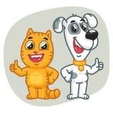 Polegares do gato e da exposição de cães acima Imagens de Stock