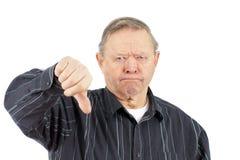 Polegares do homem idoso para baixo Fotos de Stock Royalty Free
