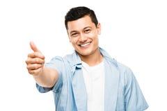 Polegares felizes da estudante universitário asiática acima Imagem de Stock