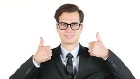Polegares modernos do homem de negócios acima, lucro, renda, salário, ganho, video estoque